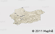 Shaded Relief Panoramic Map of Luodian, single color outside
