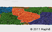 Political Panoramic Map of Nayong, darken