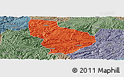 Political Panoramic Map of Nayong, semi-desaturated