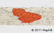 Political Panoramic Map of Nayong, shaded relief outside