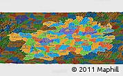 Political Panoramic Map of Guizhou, darken