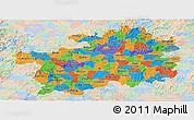 Political Panoramic Map of Guizhou, lighten