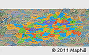 Political Panoramic Map of Guizhou, semi-desaturated