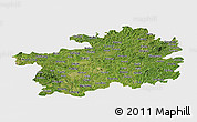 Satellite Panoramic Map of Guizhou, single color outside