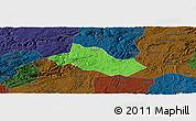 Political Panoramic Map of Pingba, darken