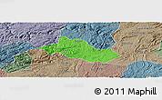 Political Panoramic Map of Pingba, semi-desaturated