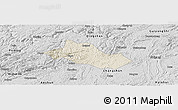 Shaded Relief Panoramic Map of Pingba, desaturated