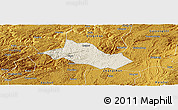 Shaded Relief Panoramic Map of Pingba, physical outside