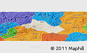 Shaded Relief Panoramic Map of Pingba, political outside