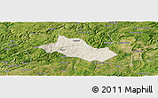Shaded Relief Panoramic Map of Pingba, satellite outside