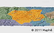 Political Panoramic Map of Qianxi, semi-desaturated