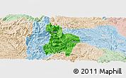Political Panoramic Map of Qinglong, lighten