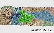 Political Panoramic Map of Qinglong, semi-desaturated