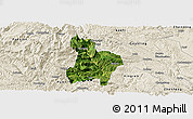 Satellite Panoramic Map of Qinglong, shaded relief outside