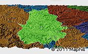 Political Panoramic Map of Shuicheng, darken