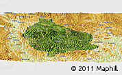 Satellite Panoramic Map of Wangmo, physical outside