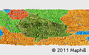 Satellite Panoramic Map of Wangmo, political outside