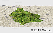 Satellite Panoramic Map of Wangmo, shaded relief outside