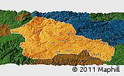 Political Panoramic Map of Weining, darken