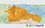 Political Panoramic Map of Weining, lighten