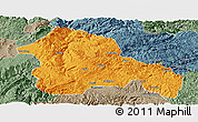 Political Panoramic Map of Weining, semi-desaturated