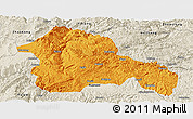 Political Panoramic Map of Weining, shaded relief outside