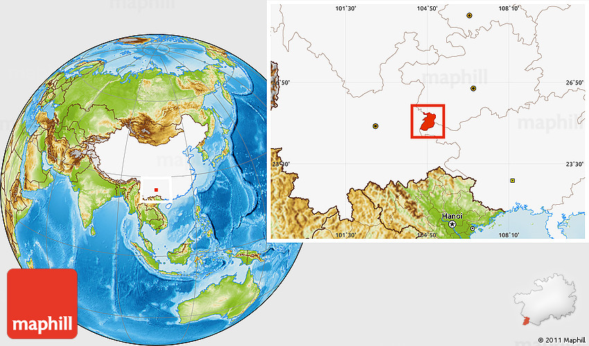 Physical Location Map Of Xingyi Highlighted Country - Xingyi map