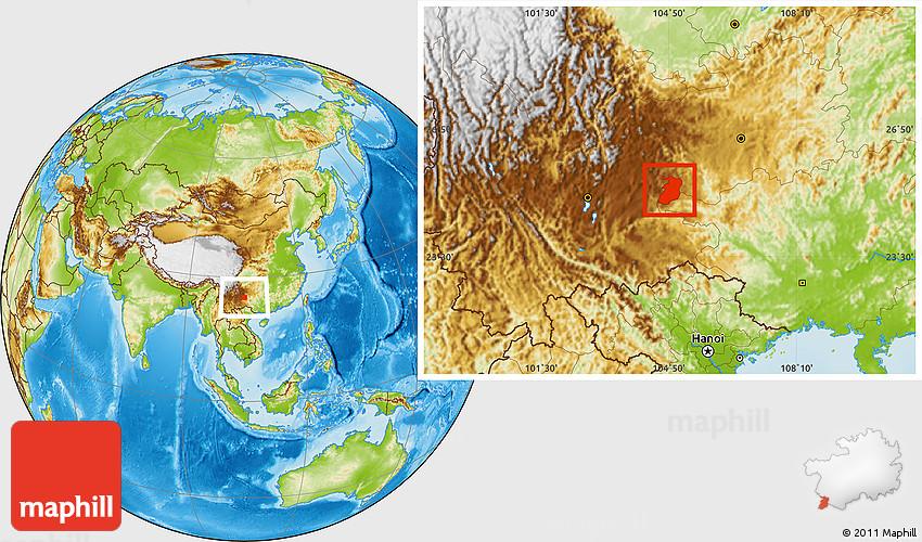 Physical Location Map Of Xingyi - Xingyi map