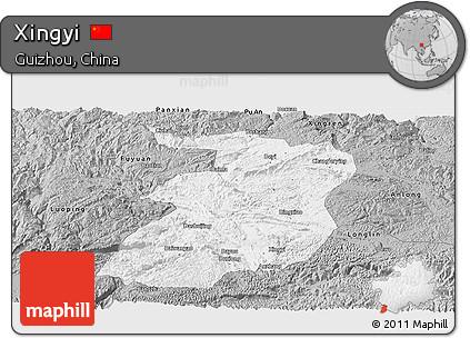 Free Gray Panoramic Map Of Xingyi - Xingyi map