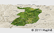Satellite Panoramic Map of Xingyi, shaded relief outside