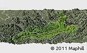 Satellite Panoramic Map of Xishui, semi-desaturated