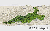 Satellite Panoramic Map of Xishui, shaded relief outside