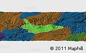 Political Panoramic Map of Xiuwen, darken