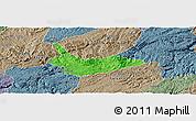 Political Panoramic Map of Xiuwen, semi-desaturated