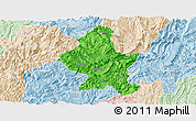 Political Panoramic Map of Zheng An, lighten