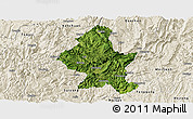 Satellite Panoramic Map of Zheng An, shaded relief outside