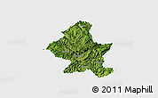 Satellite Panoramic Map of Zheng An, single color outside
