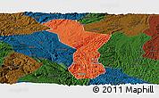 Political Panoramic Map of Zhenning, darken