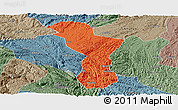 Political Panoramic Map of Zhenning, semi-desaturated