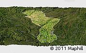 Satellite Panoramic Map of Zhenning, darken