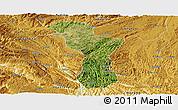 Satellite Panoramic Map of Zhenning, physical outside