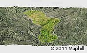 Satellite Panoramic Map of Zhenning, semi-desaturated