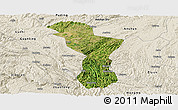 Satellite Panoramic Map of Zhenning, shaded relief outside