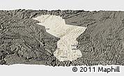 Shaded Relief Panoramic Map of Zhenning, darken