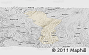 Shaded Relief Panoramic Map of Zhenning, desaturated