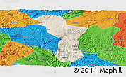 Shaded Relief Panoramic Map of Zhenning, political outside