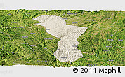 Shaded Relief Panoramic Map of Zhenning, satellite outside