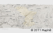 Shaded Relief Panoramic Map of Zhenning, semi-desaturated