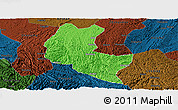 Political Panoramic Map of Ziyun, darken