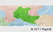 Political Panoramic Map of Ziyun, lighten
